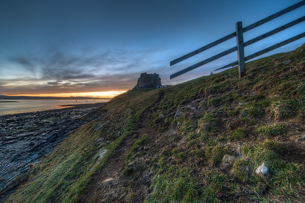 Lindisfarne Castle at sunset